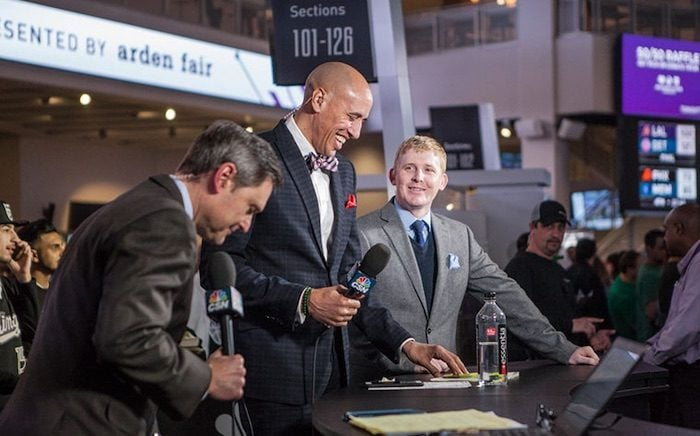 How to Become a Sports Journalist: James Ham on set with Doug Christie and Jim Kozimor at Golden 1 Center for Kings Pregame (Photo: Kings.com)